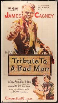 4b0022 TRIBUTE TO A BAD MAN linen 3sh 1956 great art of cowboy James Cagney, first Irene Papas!