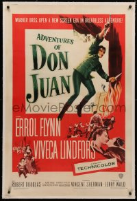 4b0025 ADVENTURES OF DON JUAN linen 1sh 1949 Errol Flynn made history when he made love to Lindfors!