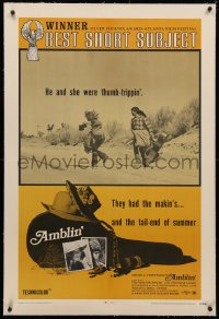 4b0031 AMBLIN' linen 1sh R1971 Steven Spielberg's very 1st movie about male & female thumb-trippers!