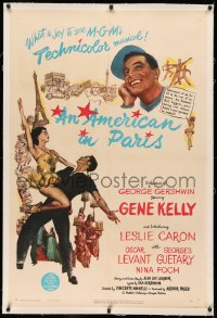 4b0032 AMERICAN IN PARIS linen 1sh 1951 wonderful art of Gene Kelly dancing with sexy Leslie Caron!