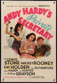 4b0033 ANDY HARDY'S PRIVATE SECRETARY linen style C 1sh 1941 Mickey Rooney, Kathryn Grayson's first!