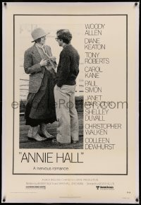 4b0035 ANNIE HALL linen 1sh 1977 full-length Woody Allen & Diane Keaton in a nervous romance!
