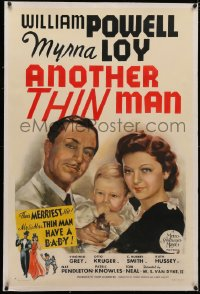 4b0036 ANOTHER THIN MAN linen style D 1sh 1939 great art of William Powell & Myrna Loy w/ Nick Jr.!