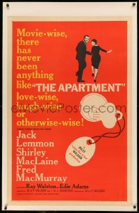 4b0037 APARTMENT linen 1sh 1960 Billy Wilder, Jack Lemmon, sexy Shirley MacLaine, key-in-lock art!