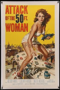 4b0040 ATTACK OF THE 50 FT WOMAN linen 1sh 1958 classic Brown art of giant Allison Hayes over highway!
