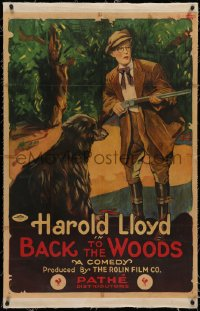4b0042 BACK TO THE WOODS linen 1sh 1919 art of Harold Lloyd with hunting rifle & dog, ultra rare!