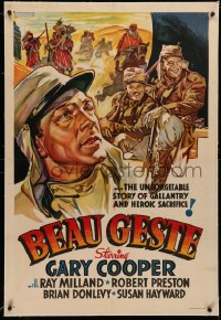 4b0048 BEAU GESTE linen Other Company 1sh 1939 completely different art of Gary Cooper, ultra rare!