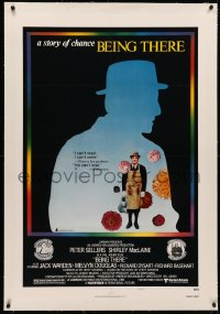 4b0049 BEING THERE linen style B 1sh 1980 silhouette of Peter Sellers, directed by Hal Ashby!