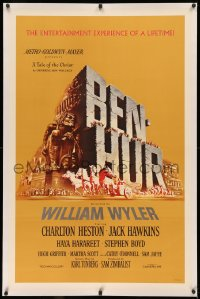 4b0052 BEN-HUR linen 1sh 1960 Charlton Heston, William Wyler classic epic, cool chariot & title art!
