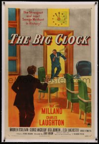 4b0053 BIG CLOCK linen 1sh 1948 Ray Milland in the strangest and most savage manhunt in history!