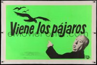 4b0055 BIRDS linen Spanish/US teaser 1sh 1963 horizontal image of Hitchcock saying they're coming!