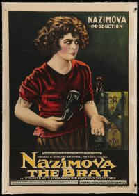 4b0063 BRAT linen 1sh 1919 great art of Nazimova, who is not pleased by French heels, ultra rare!