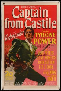4b0070 CAPTAIN FROM CASTILE linen 1sh 1947 great art of Tyrone Power with sword by Sergio Gargiulo!