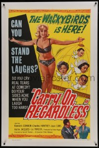 4b0071 CARRY ON REGARDLESS linen 1sh 1963 sexy English comedy, the Wackybirds is here!