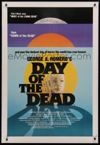 4b0084 DAY OF THE DEAD linen 1sh 1985 George Romero's Night of the Living Dead zombie horror sequel!