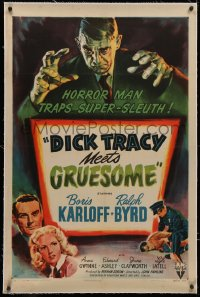 4b0088 DICK TRACY MEETS GRUESOME linen 1sh 1947 art of horror man Boris Karloff looming over title!