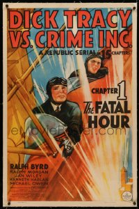 4b0089 DICK TRACY VS. CRIME INC. linen chapter 1 1sh 1941 art of Byrd in plane, serial, Fatal Hour!