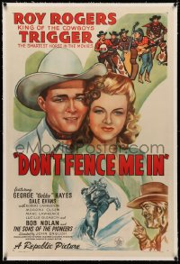 4b0090 DON'T FENCE ME IN linen 1sh 1945 close up art of Roy Rogers & pretty Dale Evans, Gabby Hayes!