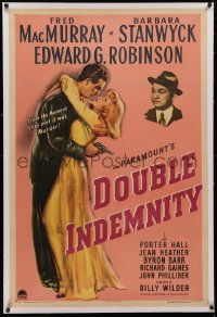 4b0091 DOUBLE INDEMNITY linen 1sh 1944 Billy Wilder classic, Barbara Stanwyck, MacMurray, Robinson
