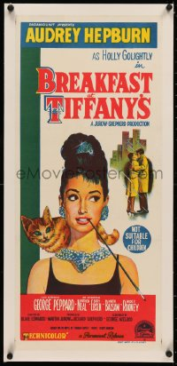 4c0163 BREAKFAST AT TIFFANY'S linen Aust daybill 1961 classic art of sexy Audrey Hepburn with cat!