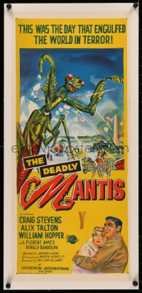 4c0165 DEADLY MANTIS linen Aust daybill 1957 art of giant insect monster attacking Washington D.C.!