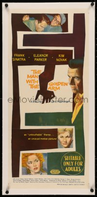 4c0170 MAN WITH THE GOLDEN ARM linen Aust daybill 1956 Frank Sinatra is hooked, Kim Novak, Preminger