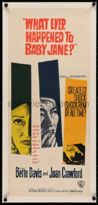 4c0172 WHAT EVER HAPPENED TO BABY JANE? linen Aust daybill 1963 Aldrich, Bette Davis & Joan Crawford!