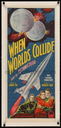 4c0173 WHEN WORLDS COLLIDE linen Aust daybill 1952 George Pal classic, Richardson Studio stone litho!