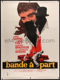 4c0024 BAND OF OUTSIDERS linen French 1p 1964 Jean-Luc Godard, Anna Karina, art by Georges Kerfyser!