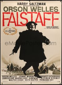 4c0026 CHIMES AT MIDNIGHT linen French 1p 1966 different art of Orson Welles as Falstaff by Landi!