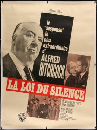 4c0029 I CONFESS linen French 1p R1960s Alfred Hitchcock shown with Montgomery Clift & Anne Baxter!