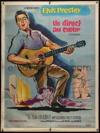 4c0030 KID GALAHAD linen French 1p 1963 art of Elvis Presley singing with guitar, boxing & romancing!