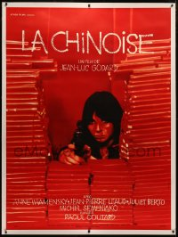 4c0031 LA CHINOISE linen French 1p 1967 Jean-Luc Godard, close up of Juliet Berto pointing gun!
