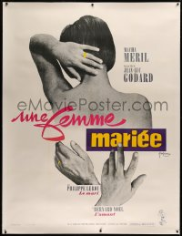 4c0034 MARRIED WOMAN linen French 1p 1965 Godard's Une femme mariee, controversial sex triangle!