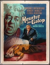 4c0036 MURDER AT THE GALLOP linen French 1p 1964 Roger Soubie art of Margaret Rutherford, ultra rare!