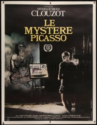 4c0039 MYSTERY OF PICASSO linen French 1p R1980s Le Mystere Picasso, Henri-Georges Clouzot & Pablo!
