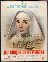 4c0040 NUN'S STORY linen French 1p R1960s different art of missionary Audrey Hepburn by Jean Mascii!