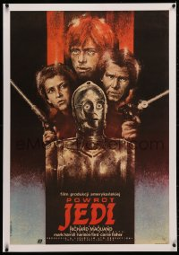 4c0196 RETURN OF THE JEDI linen Polish 26x38 1984 completely different cast montage art by Dybowski!