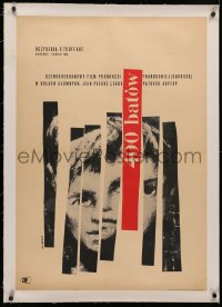4c0176 400 BLOWS linen Polish 24x34 1960 Jean-Pierre Leaud as young Truffaut, Swierzy art, very rare!