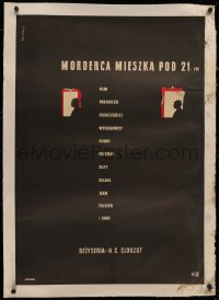 4c0185 MURDERER LIVES AT NUMBER 21 linen Polish 23x33 1942 early Henri-Georges Clouzot, Swierzy art!