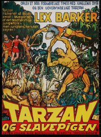 4j0010 TARZAN & THE SLAVE GIRL Danish R1970s art of Lex Barker fighting off invaders!