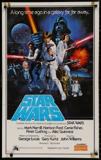 4j0001 STAR WARS Dutch 1977 George Lucas classic sci-fi epic, great cast art by Tom Chantrell, rare!
