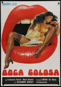 4j0015 GREEDY MOUTH export Italian 1sh 1981 striking artwork of super sexy Laura Levi in open mouth!