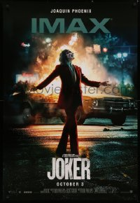 4j0028 JOKER IMAX teaser DS Thai 1sh 2019 Joaquin Phoenix as the DC Comics villain & burning car!