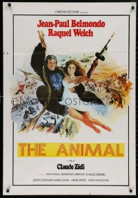 4j0068 ANIMAL Lebanese 1977 Jean-Paul Belmondo and sexy Raquel Welch swinging on rope by Yves Thos!