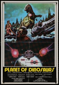 4j0075 PLANET OF DINOSAURS Lebanese 1978 X-Wings & Millennium Falcon art from Star Wars by Tino Aller