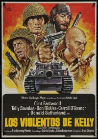 4j0042 KELLY'S HEROES Spanish R1981 Clint Eastwood, Telly Savalas, Mac art of tank and top cast!