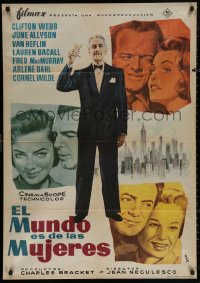 4j0047 WOMAN'S WORLD Spanish 1959 Allyson, Clifton Webb, Heflin, Lauren Bacall, MCP art!