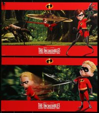 4k0019 INCREDIBLES 8 10x17 LCs 2004 Disney/Pixar animated superhero family, cool widescreen images!