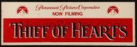 4k0008 THIEF OF HEARTS 5x16 production soundstage/set sign 1984 used at Paramount studios!